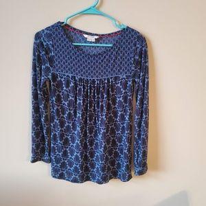 Boden Blue & Black Floral Top